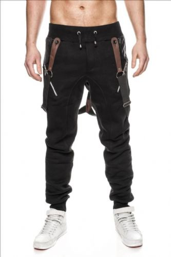 Mens KDWN Silm Fit Zip Fleece Bottoms Joggers Pants With Braces Pull Cordes